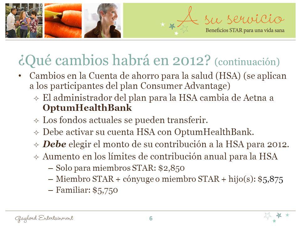 ¿Qué cambios habrá en 2012? (continuación) Cambios en la Cuenta de ahorro para la salud (HSA) (se aplican a los participantes del plan Consumer Advant