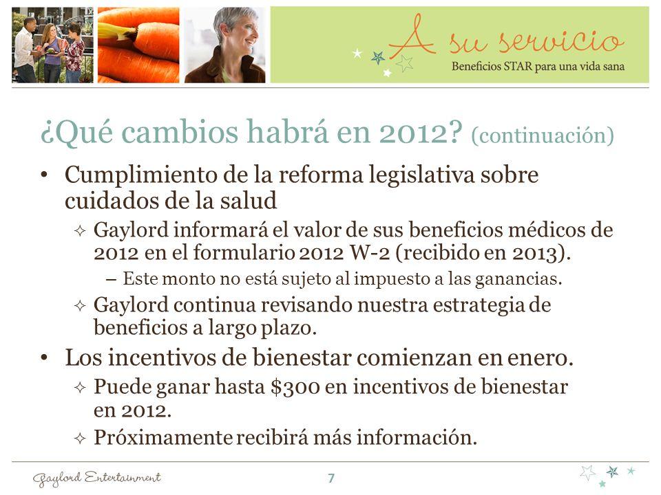 ¿Qué cambios habrá en 2012? (continuación) Cumplimiento de la reforma legislativa sobre cuidados de la salud Gaylord informará el valor de sus benefic