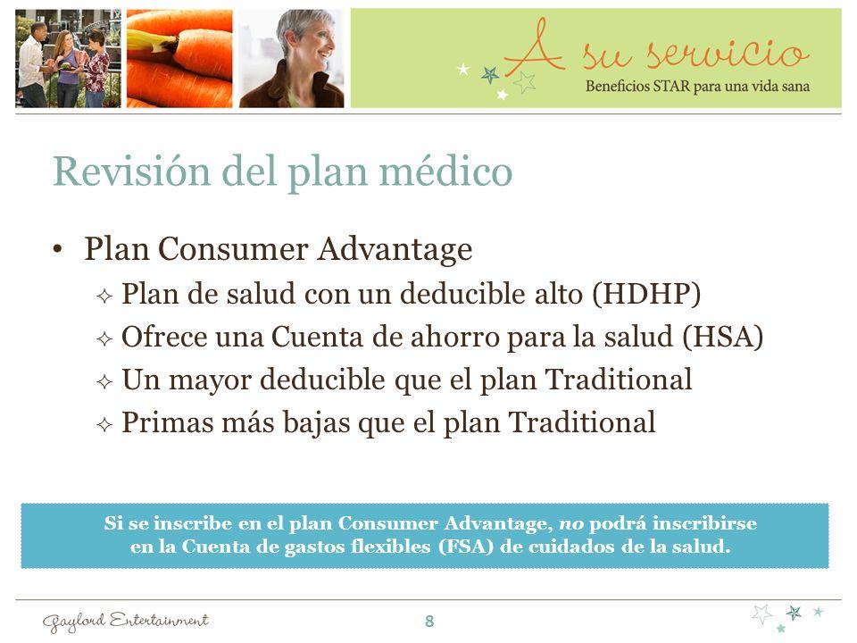 Revisión del plan médico Plan Consumer Advantage Plan de salud con un deducible alto (HDHP) Ofrece una Cuenta de ahorro para la salud (HSA) Un mayor deducible que el plan Traditional Primas más bajas que el plan Traditional Si se inscribe en el plan Consumer Advantage, no podrá inscribirse en la Cuenta de gastos flexibles (FSA) de cuidados de la salud.