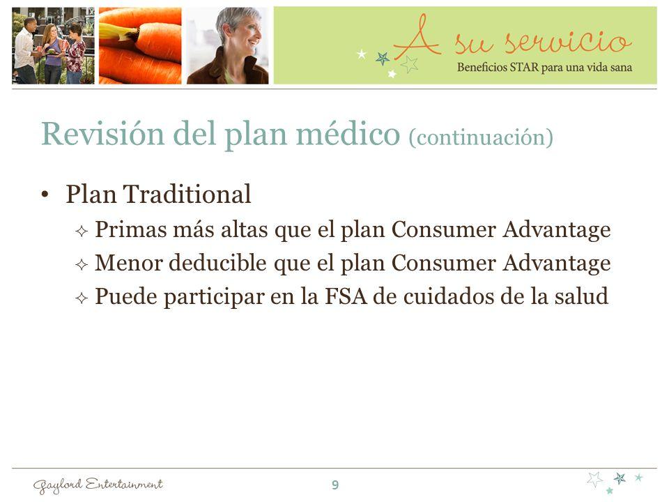 Revisión del plan médico (continuación) Plan Traditional Primas más altas que el plan Consumer Advantage Menor deducible que el plan Consumer Advantag