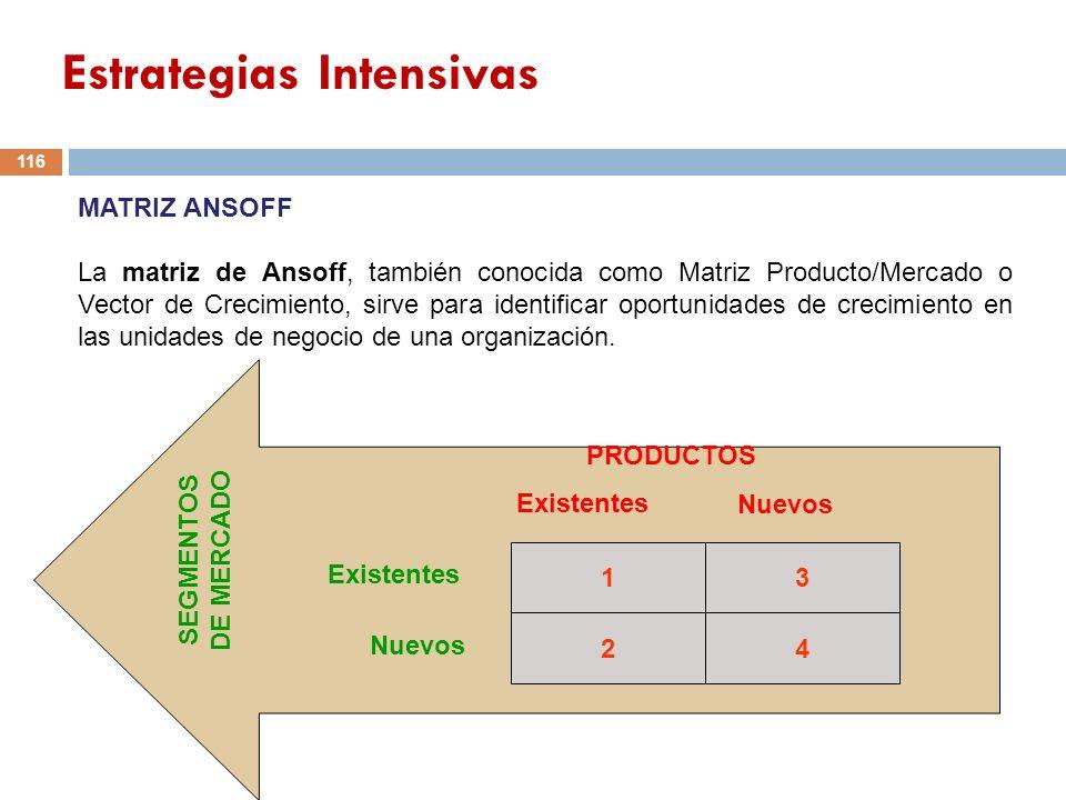 13 24 PRODUCTOS Existentes Nuevos Existentes Nuevos SEGMENTOS DE MERCADO 116 MATRIZ ANSOFF La matriz de Ansoff, también conocida como Matriz Producto/