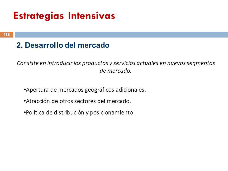 2. Desarrollo del mercado Consiste en introducir los productos y servicios actuales en nuevos segmentos de mercado. Apertura de mercados geográficos a