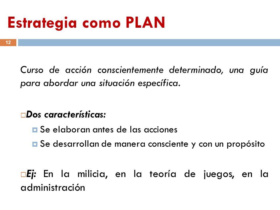 Estrategia como PLAN 12 Curso de acción conscientemente determinado, una guía para abordar una situación específica. Dos características: Se elaboran