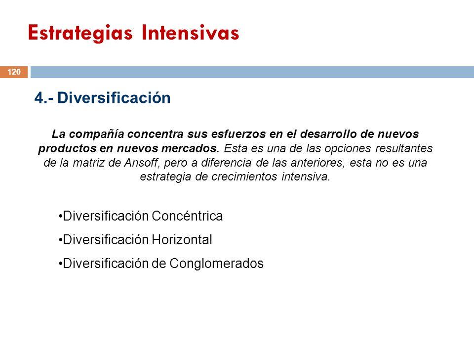 4.- Diversificación La compañía concentra sus esfuerzos en el desarrollo de nuevos productos en nuevos mercados. Esta es una de las opciones resultant