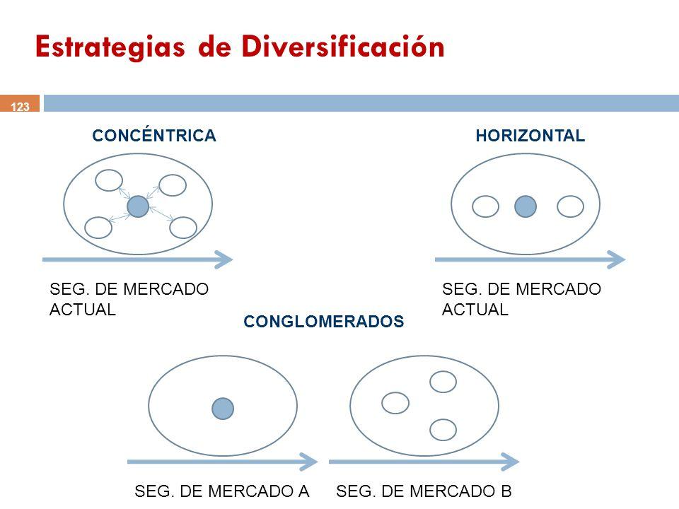SEG. DE MERCADO ACTUAL SEG. DE MERCADO ASEG. DE MERCADO B CONGLOMERADOS HORIZONTALCONCÉNTRICA 123 Estrategias de Diversificación