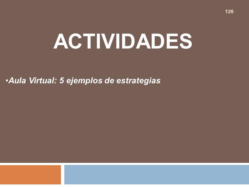 ACTIVIDADES Aula Virtual: 5 ejemplos de estrategias 126