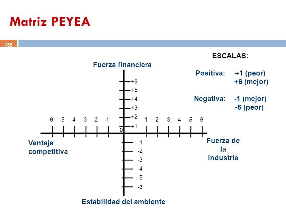 135 Fuerza de la industria Ventaja competitiva Fuerza financiera Estabilidad del ambiente ESCALAS: Positiva: +1 (peor) +6 (mejor) Negativa: -1 (mejor)