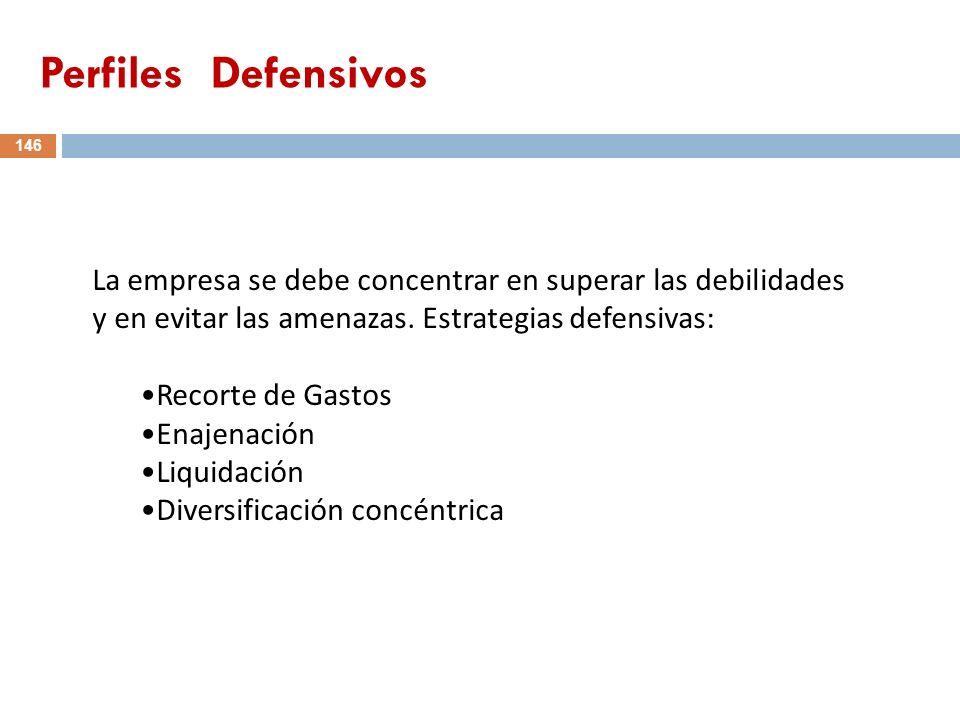 146 La empresa se debe concentrar en superar las debilidades y en evitar las amenazas. Estrategias defensivas: Recorte de Gastos Enajenación Liquidaci
