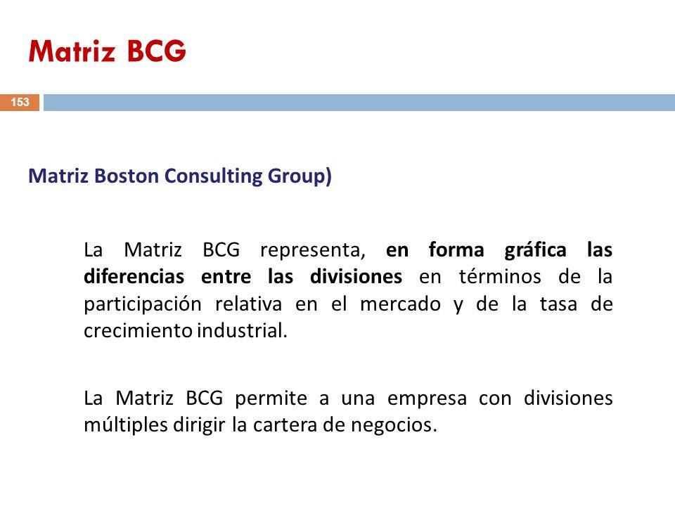 153 La Matriz BCG representa, en forma gráfica las diferencias entre las divisiones en términos de la participación relativa en el mercado y de la tas