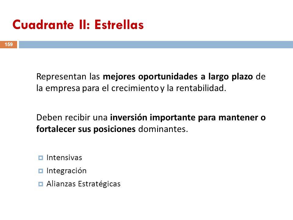 159 Representan las mejores oportunidades a largo plazo de la empresa para el crecimiento y la rentabilidad. Deben recibir una inversión importante pa