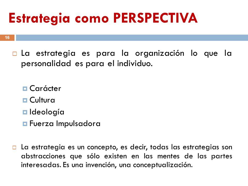 Estrategia como PERSPECTIVA 16 La estrategia es para la organización lo que la personalidad es para el individuo. Carácter Cultura Ideología Fuerza Im