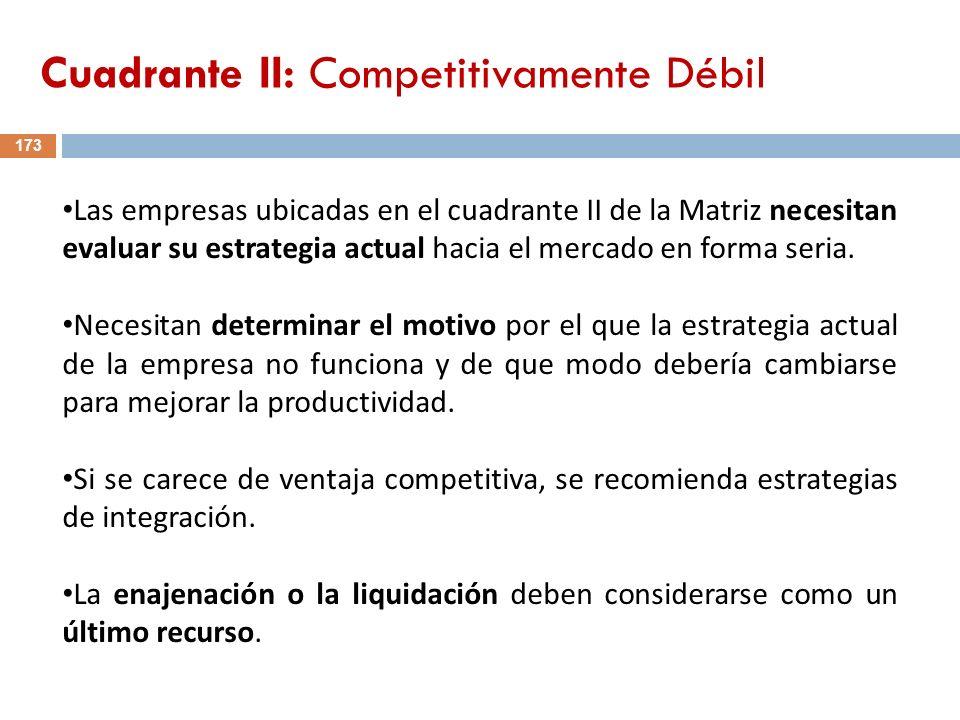 173 Las empresas ubicadas en el cuadrante II de la Matriz necesitan evaluar su estrategia actual hacia el mercado en forma seria. Necesitan determinar