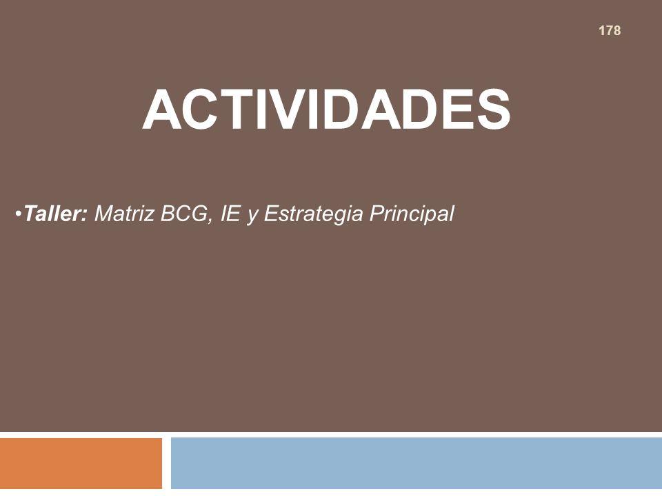 ACTIVIDADES Taller: Matriz BCG, IE y Estrategia Principal 178
