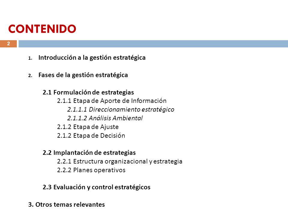 1. Introducción a la gestión estratégica 2. Fases de la gestión estratégica 2.1 Formulación de estrategias 2.1.1 Etapa de Aporte de Información 2.1.1.