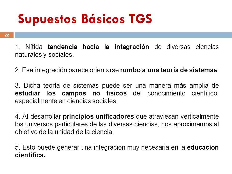 Supuestos Básicos TGS 22 1. Nítida tendencia hacia la integración de diversas ciencias naturales y sociales. 2. Esa integración parece orientarse rumb