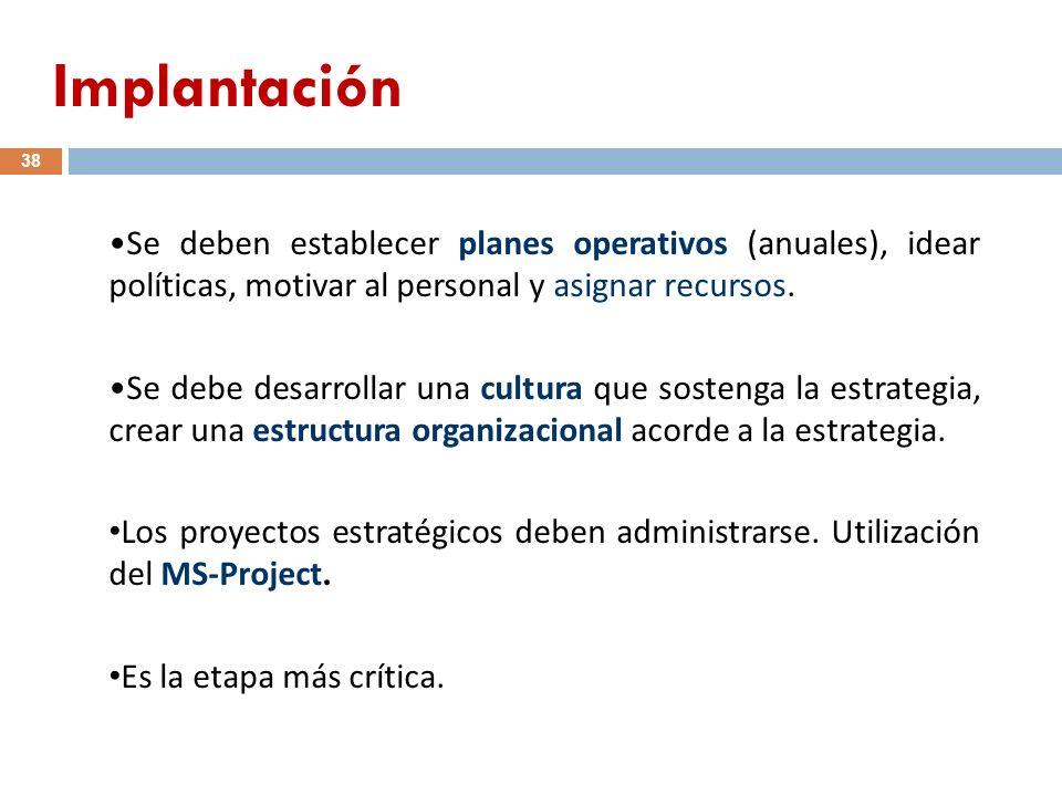 Se deben establecer planes operativos (anuales), idear políticas, motivar al personal y asignar recursos. Se debe desarrollar una cultura que sostenga