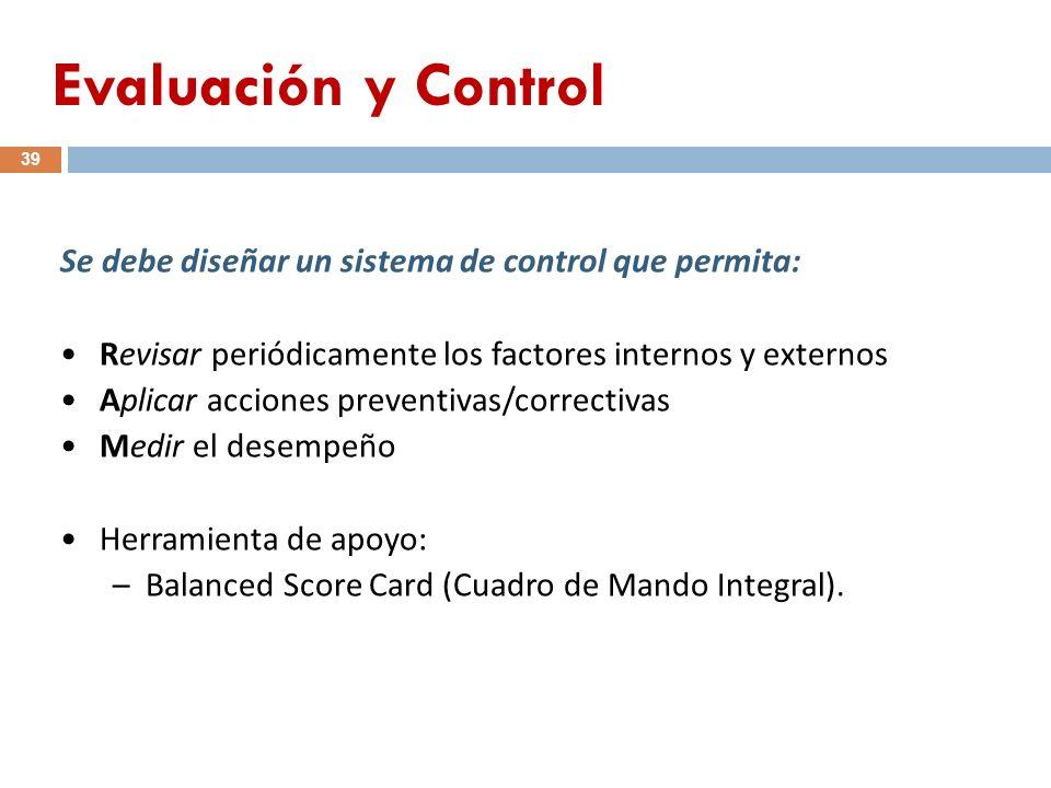 Se debe diseñar un sistema de control que permita: Revisar periódicamente los factores internos y externos Aplicar acciones preventivas/correctivas Me