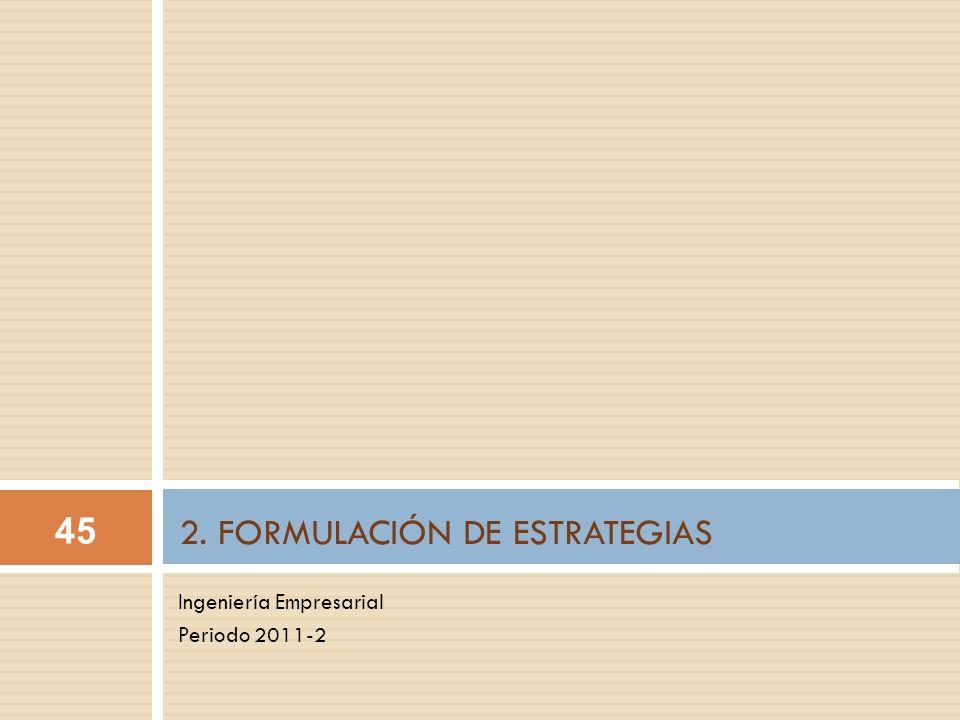 Ingeniería Empresarial Periodo 2011-2 2. FORMULACIÓN DE ESTRATEGIAS 45