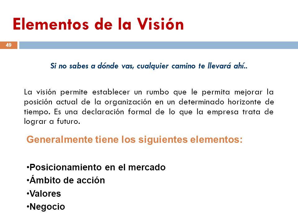 La visión permite establecer un rumbo que le permita mejorar la posición actual de la organización en un determinado horizonte de tiempo. Es una decla