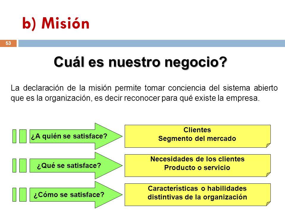 La declaración de la misión permite tomar conciencia del sistema abierto que es la organización, es decir reconocer para qué existe la empresa. ¿A qui