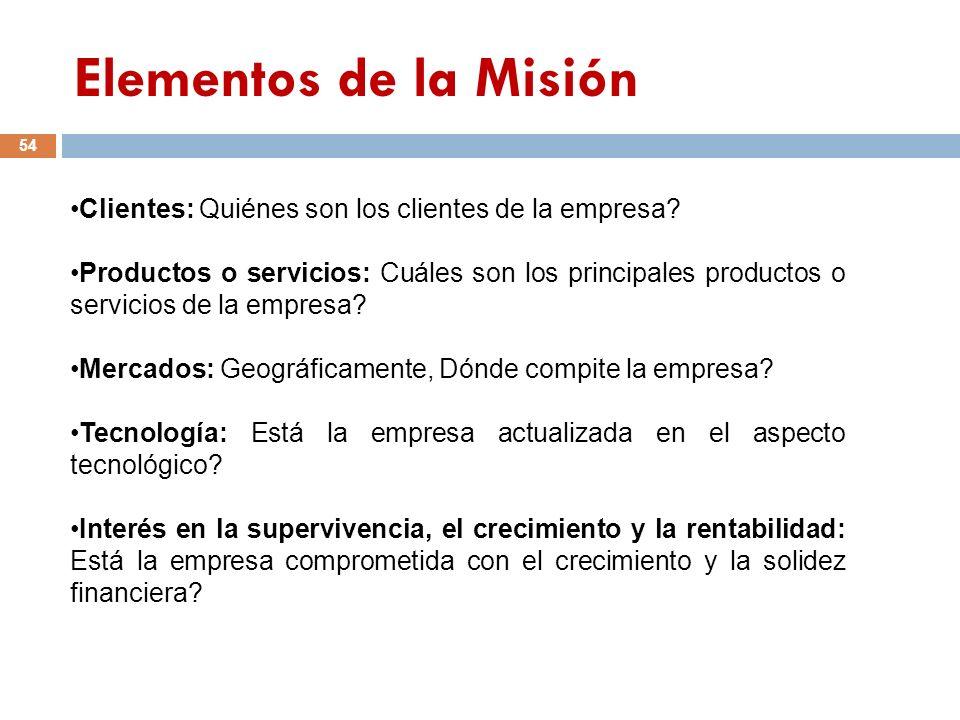 Elementos de la Misión 54 Clientes: Quiénes son los clientes de la empresa? Productos o servicios: Cuáles son los principales productos o servicios de