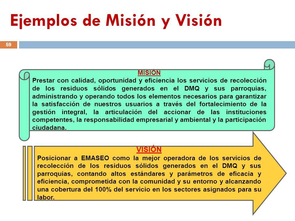 MISIÓN Prestar con calidad, oportunidad y eficiencia los servicios de recolección de los residuos sólidos generados en el DMQ y sus parroquias, admini