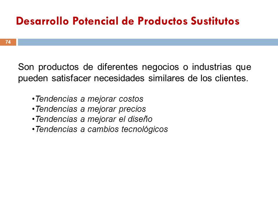 Desarrollo Potencial de Productos Sustitutos 74 Son productos de diferentes negocios o industrias que pueden satisfacer necesidades similares de los c