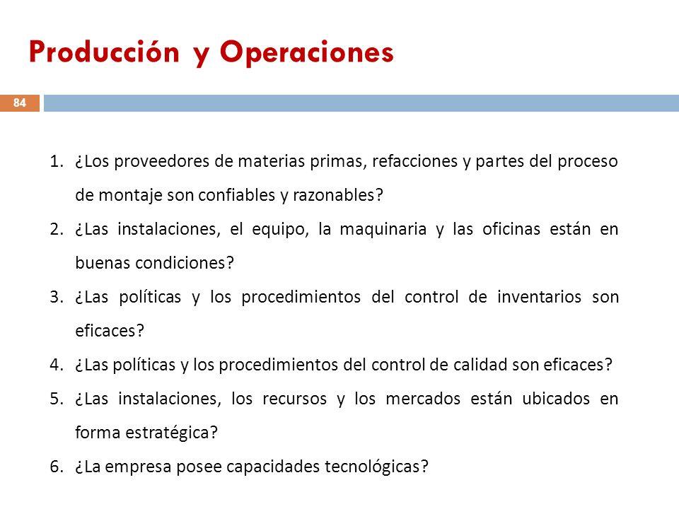 1.¿Los proveedores de materias primas, refacciones y partes del proceso de montaje son confiables y razonables? 2.¿Las instalaciones, el equipo, la ma