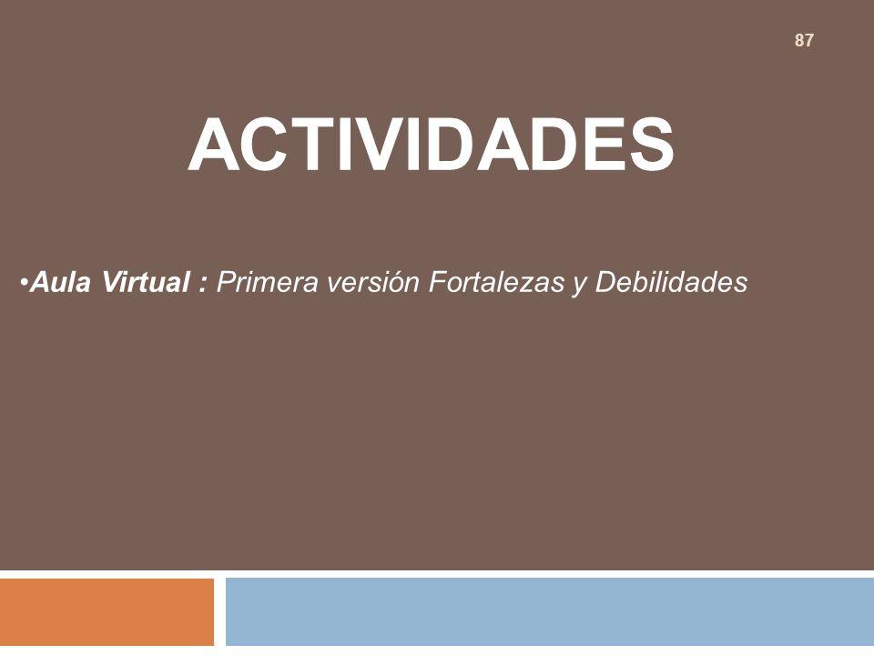 ACTIVIDADES Aula Virtual : Primera versión Fortalezas y Debilidades 87