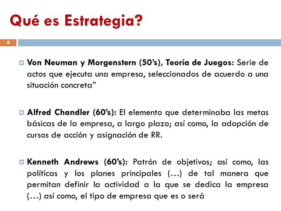 Qué es Estrategia? 9 Von Neuman y Morgenstern (50s), Teoría de Juegos: Serie de actos que ejecuta una empresa, seleccionados de acuerdo a una situació