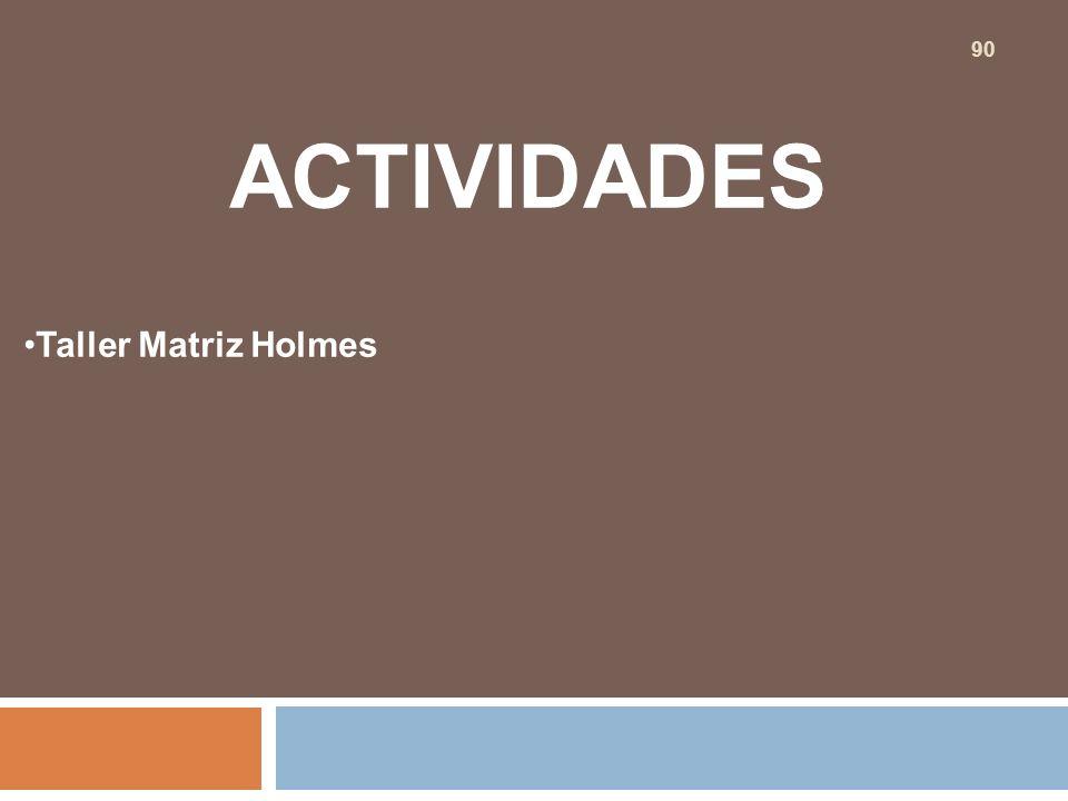 ACTIVIDADES Taller Matriz Holmes 90