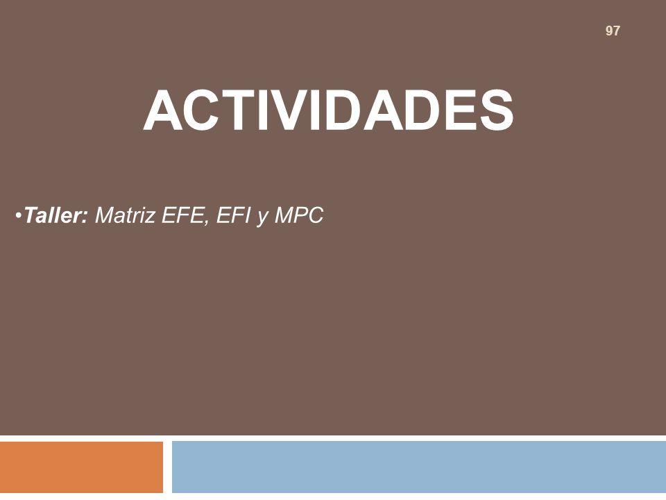 ACTIVIDADES Taller: Matriz EFE, EFI y MPC 97