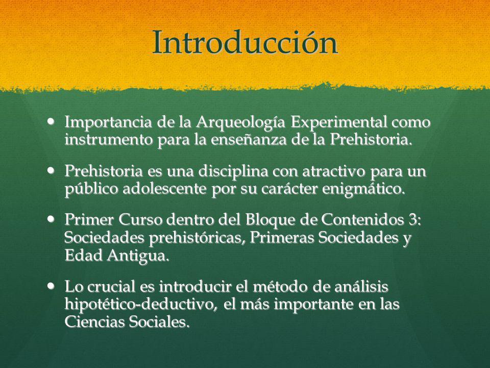 Introducción Importancia de la Arqueología Experimental como instrumento para la enseñanza de la Prehistoria. Importancia de la Arqueología Experiment