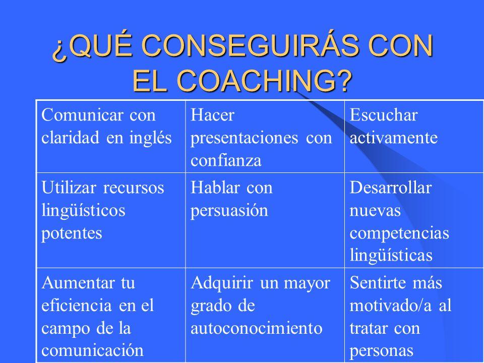 ¿EN QUÉ CONSISTE? Tendrás un coach(entrenador personal lingüístico) que te proporcionará herramientas para aprovechar tus capacidades y recursos inter