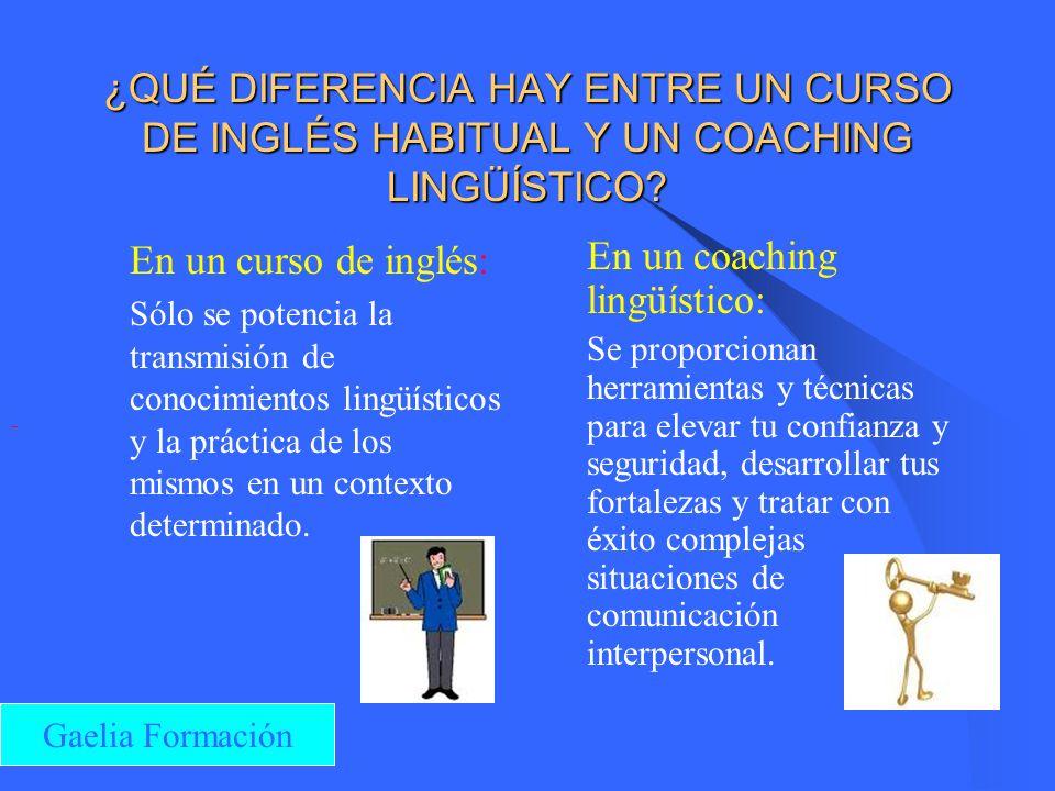 ¿QUÉ CONSEGUIRÁS CON EL COACHING? Comunicar con claridad en inglés Hacer presentaciones con confianza Escuchar activamente Utilizar recursos lingüísti