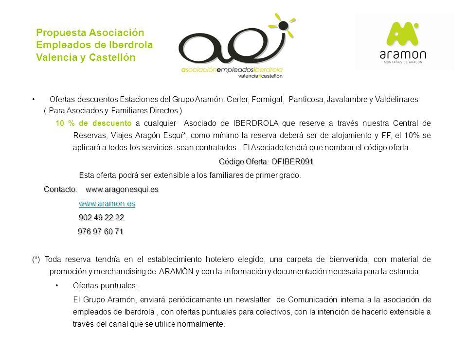 Propuesta Asociación Empleados de Iberdrola Valencia y Castellón Ofertas descuentos Estaciones del Grupo Aramón: Cerler, Formigal, Panticosa, Javalamb
