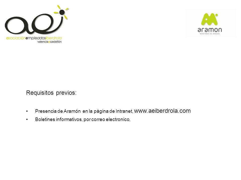 Requisitos previos: Presencia de Aramón en la página de Intranet, www.aeiberdrola.com Boletines informativos, por correo electronico,