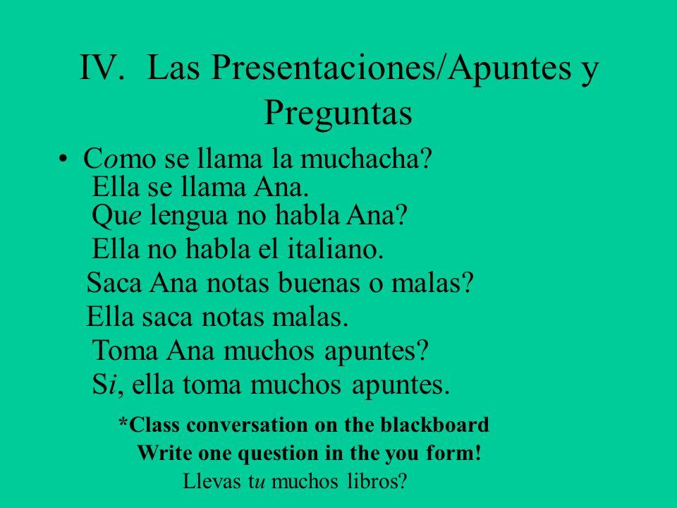IV. Las Presentaciones/Apuntes y Preguntas Como se llama la muchacha? Ella se llama Ana. Que lengua no habla Ana? Ella no habla el italiano. Saca Ana