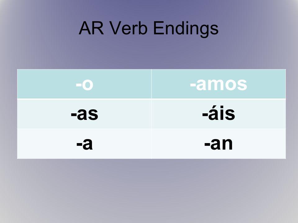 AR Verb Endings -o-amos -as-áis -a-an