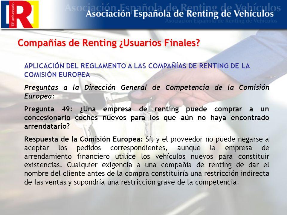 Compañías de Renting ¿Usuarios Finales.