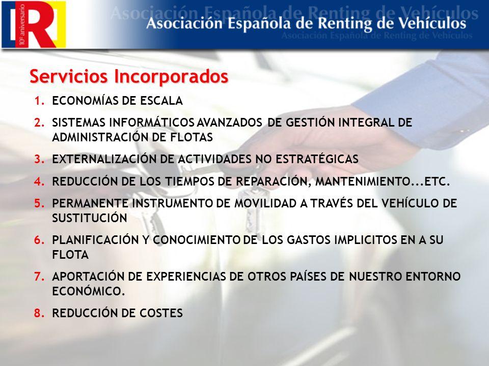 Servicios Incorporados 1.ECONOMÍAS DE ESCALA 2.SISTEMAS INFORMÁTICOS AVANZADOS DE GESTIÓN INTEGRAL DE ADMINISTRACIÓN DE FLOTAS 3.EXTERNALIZACIÓN DE ACTIVIDADES NO ESTRATÉGICAS 4.REDUCCIÓN DE LOS TIEMPOS DE REPARACIÓN, MANTENIMIENTO...ETC.