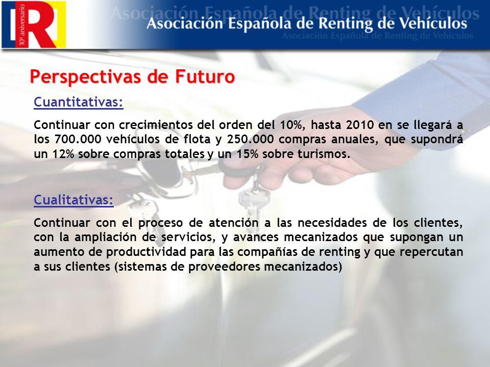 Perspectivas de Futuro Cuantitativas: Continuar con crecimientos del orden del 10%, hasta 2010 en se llegará a los 700.000 vehículos de flota y 250.000 compras anuales, que supondrá un 12% sobre compras totales y un 15% sobre turismos.