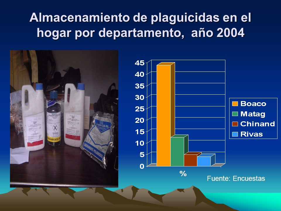 Almacenamiento de plaguicidas en el hogar por departamento, año 2004 Fuente: Encuestas