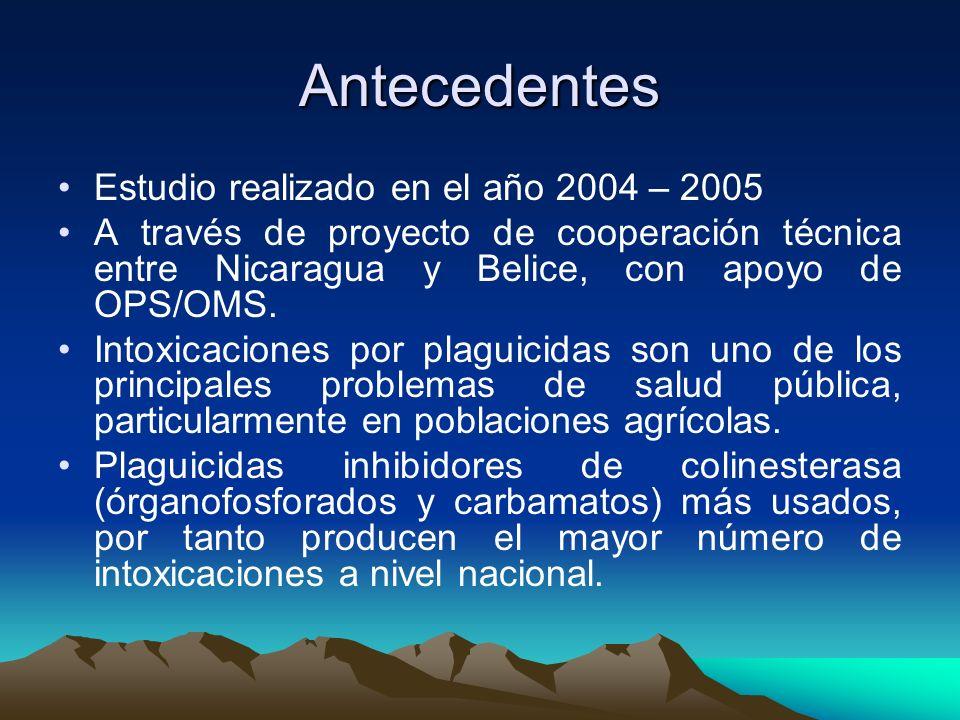 Antecedentes Estudio realizado en el año 2004 – 2005 A través de proyecto de cooperación técnica entre Nicaragua y Belice, con apoyo de OPS/OMS. Intox