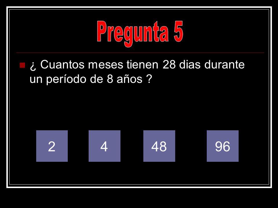 ¿ Cuantos meses tienen 28 dias durante un período de 8 años ? 249648