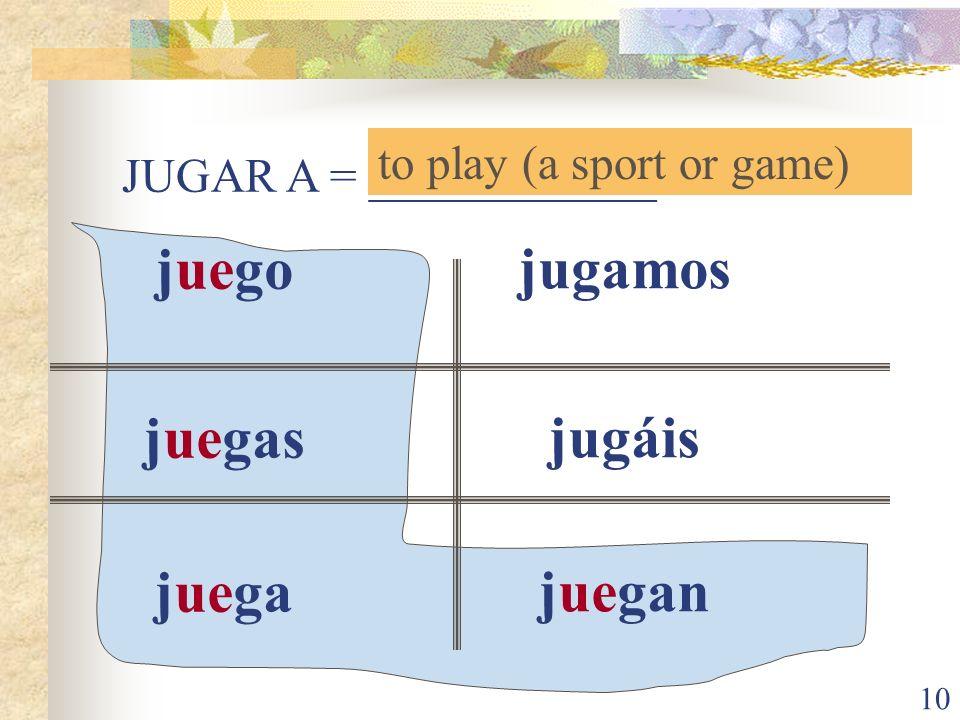 10 JUGAR A = ____________ to play (a sport or game) juego juegas juega jugamos jugáis juegan