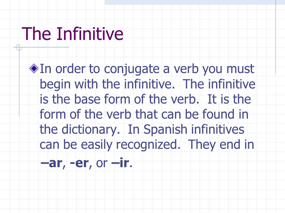 Conjugating –ar Verbs We will begin by learning how to conjugate –ar verbs.