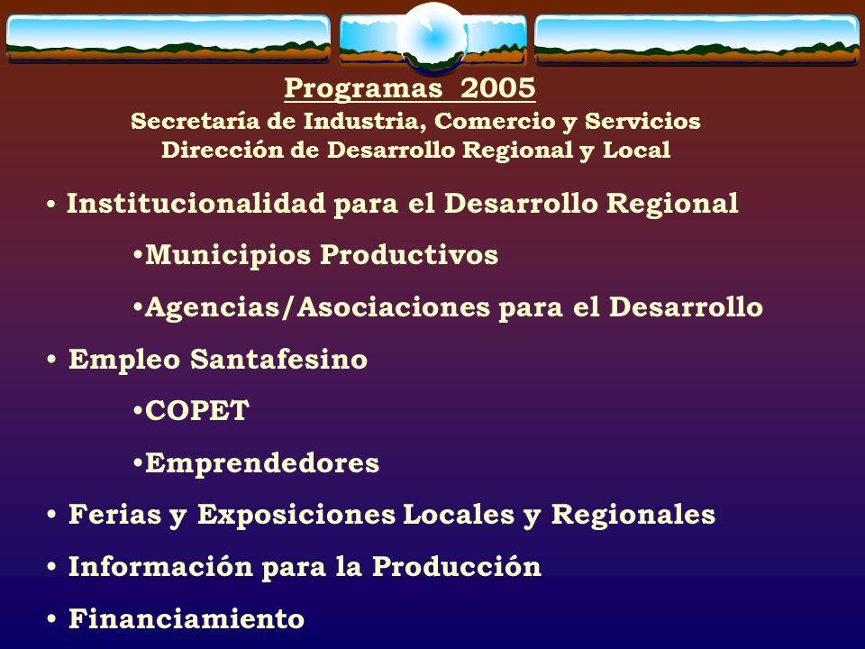 Programas 2005 Institucionalidad para el Desarrollo Regional Municipios Productivos Agencias/Asociaciones para el Desarrollo Empleo Santafesino COPET Emprendedores Ferias y Exposiciones Locales y Regionales Información para la Producción Financiamiento Secretaría de Industria, Comercio y Servicios Dirección de Desarrollo Regional y Local