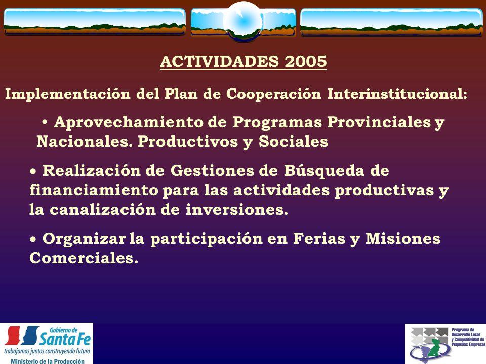 Aprovechamiento de Programas Provinciales y Nacionales.