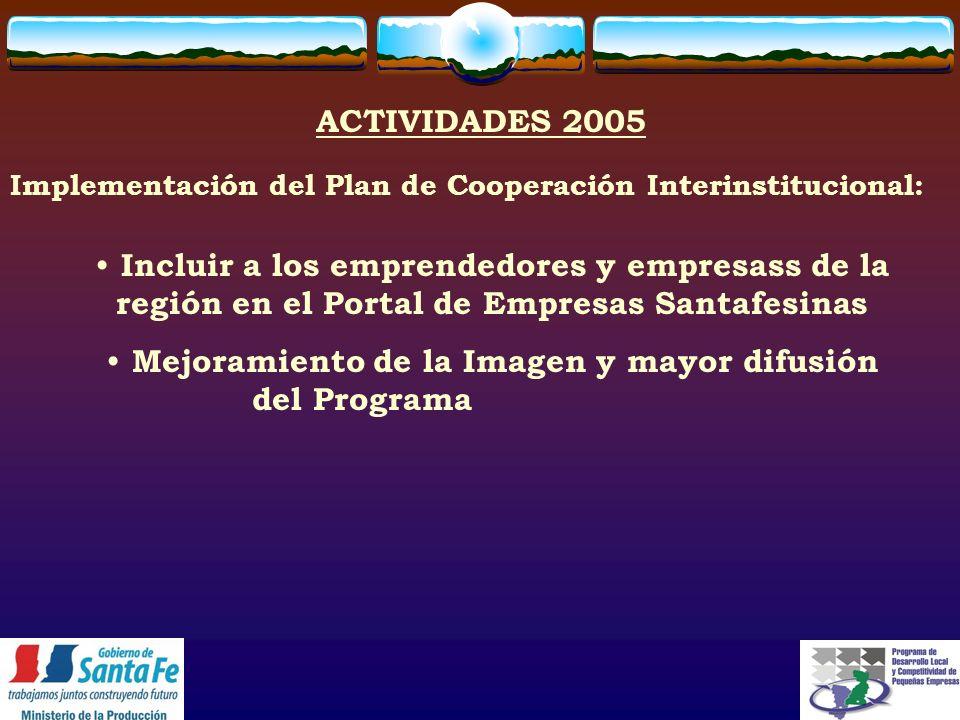 Incluir a los emprendedores y empresass de la región en el Portal de Empresas Santafesinas Mejoramiento de la Imagen y mayor difusión del Programa ACTIVIDADES 2005 Implementación del Plan de Cooperación Interinstitucional: